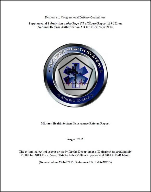Military Health System Governance Reform Report to Congress - August 2013