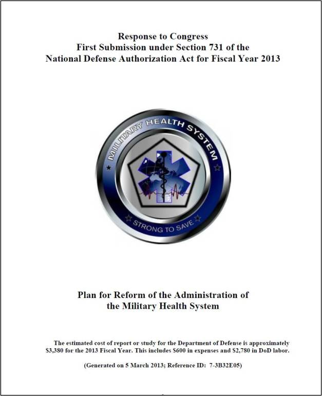 Plan for Reform of the Administration of the Military Health System - Report to Congress 5 March 2013