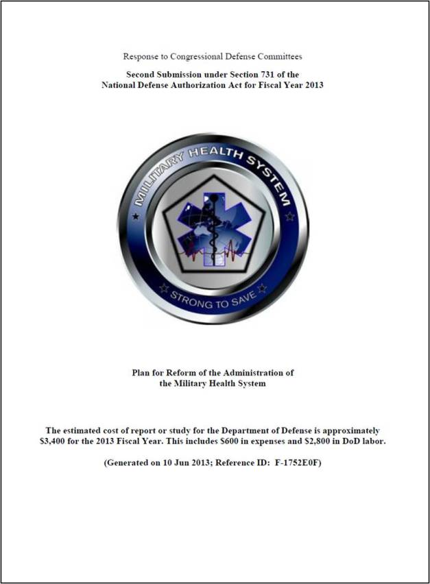 Plan for Reform of the Administration of the Military Health System – Second Report to Congress 5 March 2013