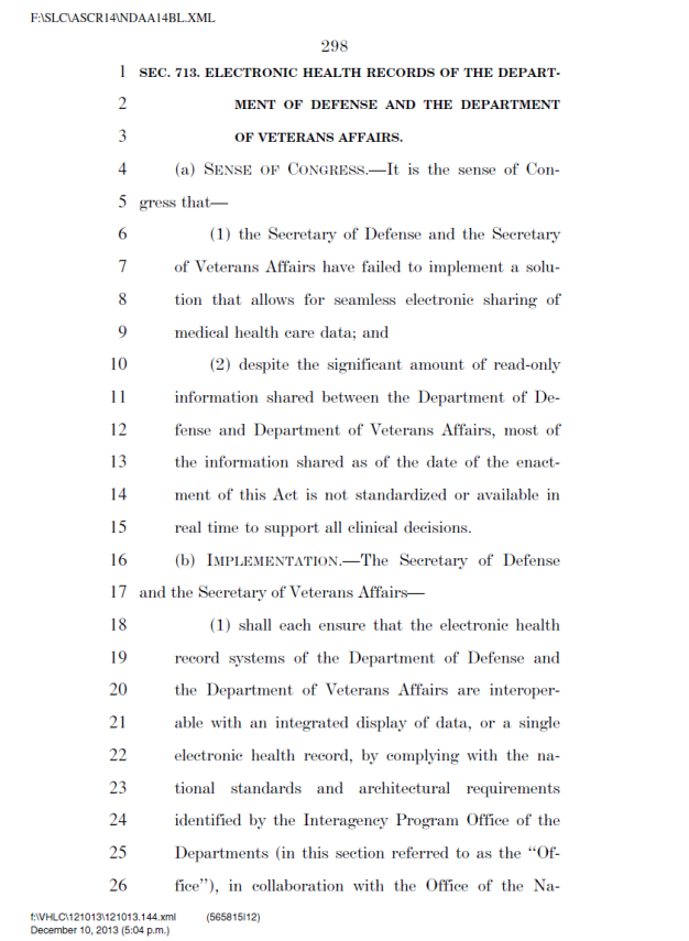 NDAA 2014 Sec 713. ELECTRONIC HEALTH RECORDS OF DoD and Veterans Affairs